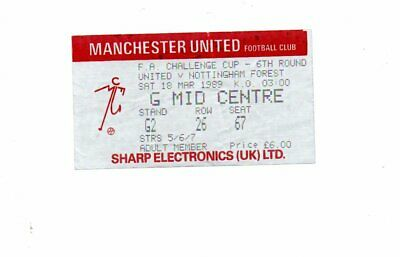 Used Ticket - Manchester United V Nottingham Forest LC 18.3.1989 • 2.50£