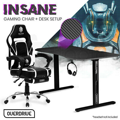AU269 • Buy OVERDRIVE Gaming Chair Desk Racing Seat Setup PC Black Office Table Foot Combo