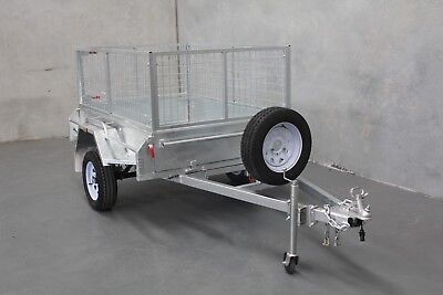 AU1850 • Buy Everything Included! 7x4 Heavy Duty Galvanised Tilt Cage Trailer