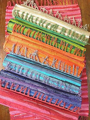Rag Rug Mat Indian Hand Loomed Fair Trade 100% Recycled Cotton 8 Colours 2 Sizes • 25.95£