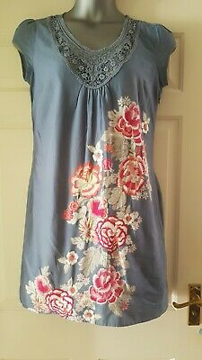 Ladies Summer Cotton Shift Dress S 16 Embroidered Flowers Crochet Monsoon Lined • 16.99£