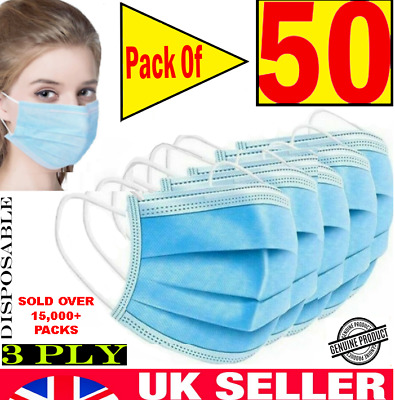 50 X 3 PLY DISPOSABLE FACE MASK - NON SURGICAL BREATHABLE MOUTH GUARD COVER UK • 3.89£