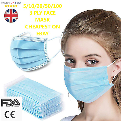 5 /10/20/ 50 /100/ 500 Disposable 3 Ply Face Mask Protective Breathable Surgical • 8.49£
