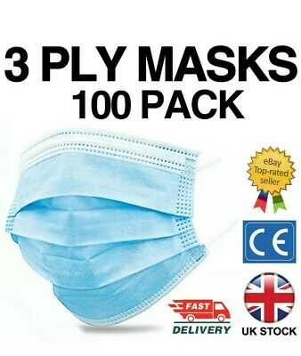 100 X 3ply Face Mask Non Surgical Disposable Mouth Guard Face Masks UK • 5.32£