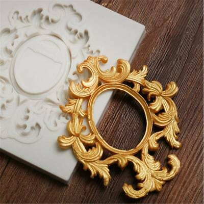 Silicone Relief Baroque Fondant Mould Vintage Cake Flower Frame Paste Mold PF • 2.16£
