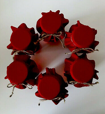 6 Christmas Festive Red Jam Jar Covers, Labels Bands & Ties • 2£