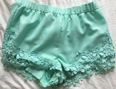 Zara Mint Green/blue Floral Lace Shorts • 5£