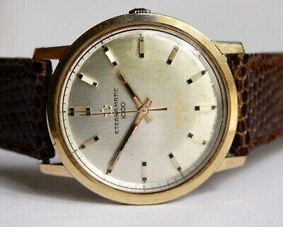 Vintage Mens Eterna Matic 1000 Automatic Watch Works Well 14k Gold Bezel Time Dc • 690.03£