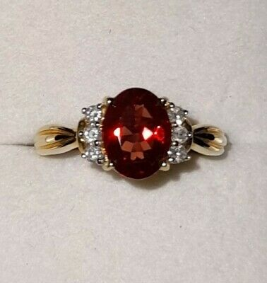 AU267.95 • Buy 9k Red Andesine And Diamond Ring, UK Ring Size N