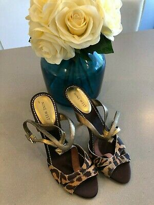 "AU69 • Buy Nine West Gold ""Keeper"" Animal Print Strapy Open Toe Heels Size 7.5 NEW"