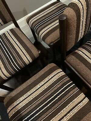 AU195 • Buy SET Of 4 GT Stripe Vintage Dining Chairs Mid Century Modern PICK UP ONLY