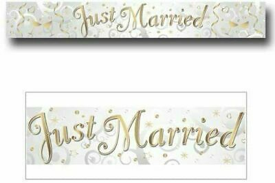 Just Married Holographic Foil Banner Ivory Silver Gold Wedding Party Decoration  • 1.79£