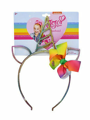 AU14.17 • Buy JoJo Siwa Girls Rainbow Unicorn Headband Horn Ears W/ Bow