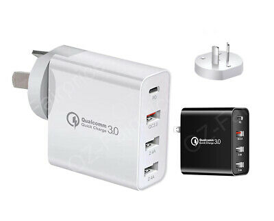 AU24.95 • Buy Qualcomm QC3.0 48W PD Fast Charging Wall Charger Adapter Multi USB Type C 4 Port