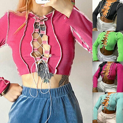 Sexy Hot Women Tie Front Tops Crop Tops Ribbed Lace Up Knitwear T-Shirt Tees UK • 8.84£