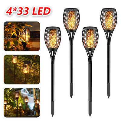 4 Pack 33 LED Solar Torch LED Flickering Light Dancing Flame Garden Lamp • 11.39£