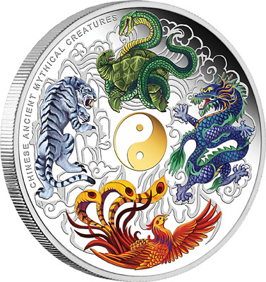 AU999 • Buy 2014 Chinese Ancient Mythical Creatures 5oz Silver Proof Coloured Coin