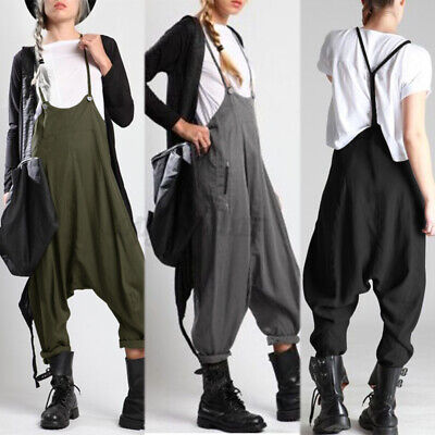 Womens Back Cross Long Jumpsuit Playsuit Casual Loose Baggy Pockets Harem Pants • 9.99£