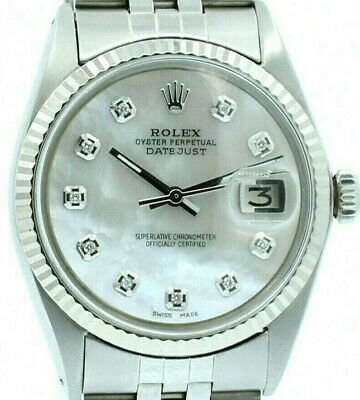 $ CDN6511.58 • Buy Mens Vintage ROLEX Oyster Perpetual Datejust 36mm MOP Diamond Dial Watch