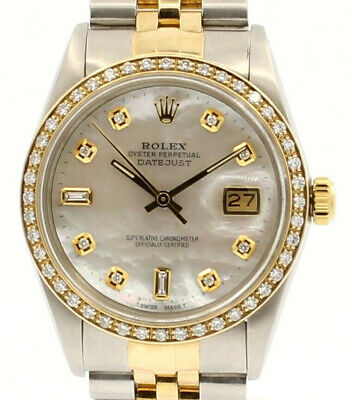 $ CDN8470.87 • Buy Mens Vintage ROLEX Oyster Perpetual Datejust 36mm MOP Gold DIAMOND Dial Watch