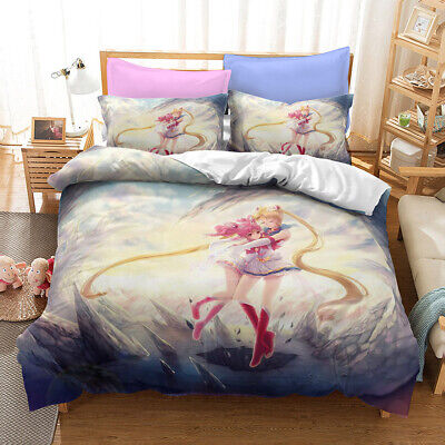 AU70.97 • Buy Cartoon Sailor Moon Chibiusa 3D Quilt Duvet Cover Set Pillowcases