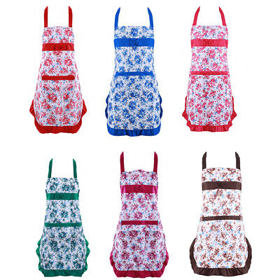 Country Style Kitchen Flower Printed Cooking Restaurant Apron For Lady Girls PF • 3.74£