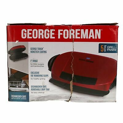 NOB George Foreman 5 Serving Removable Plate Electric Grill & Panini Press - Red • 34.88£