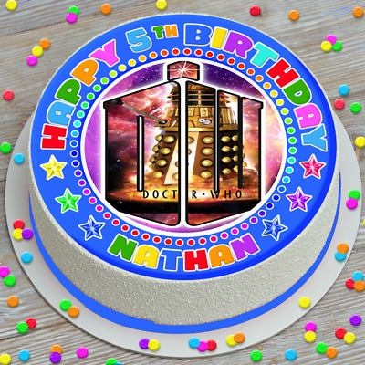 Dr Who Happy Birthday Personalised 7.5 Inch Pre-cut Edible Cake Topper 363a • 4.09£