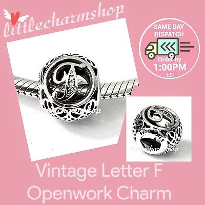 AU44.10 • Buy New Authentic Genuine PANDORA Vintage Letter F Openwork Charm - 791850CZ RETIRED