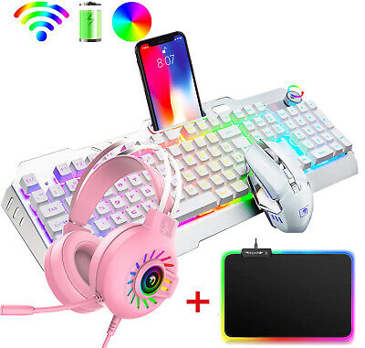 AU108.94 • Buy Wireless Backlit Gaming Keyboard Mouse RGB Headset And MousePad Combo For PS4 PC