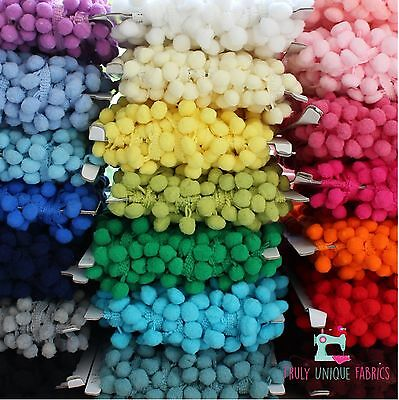 10mm Pom Pom Trimming Bobble Braid / 26 COLOURS / Sold Per Metre / SALE 15% OFF! • 1.25£