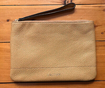 AU50 • Buy Oroton Bueno Large Zip Pouch Bag Tan Leather Brand New RRP $125