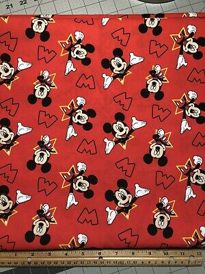 Disney's Mickey Mouse Red CEA Fabric 100% Cotton 18x21 Fat Quarter Quilt • 3.47£