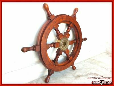18  Nautical Wooden Ship Steering Wheel Pirate Brass Brown Fishing Wall Decor • 26.90£