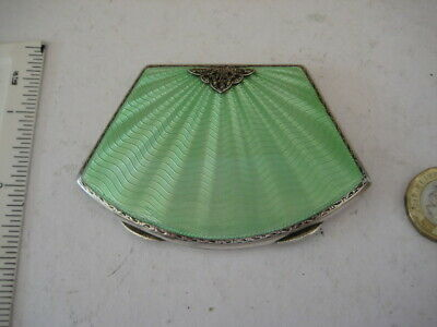 Art Deco Fan Shaped Vintage Solid Silver Guilloche Enamel Compact Adie  Bros  • 349.99£