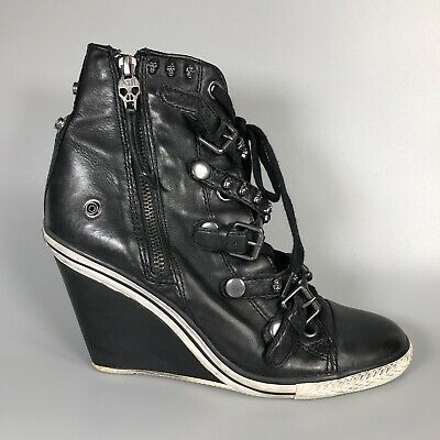 ASH Limited Skull Womens Black Wedge Trainers Boots Size EU 39 • 49.99£