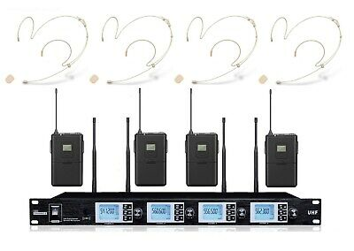 UHF Wireless Headset Headworn Microphone System Rack Mount Cordless Head Mic Set • 211.57£