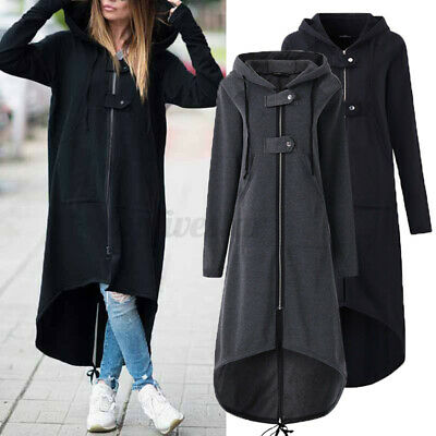 Women Hooded Sweatshirt Dress Zip Up High Low Hem Tops Hoodies Coat Jacket Parka • 12.97£