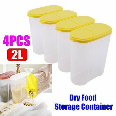 £10.39 • Buy 4 Large Cereal Dispenser Dry Food Pasta Rice Storage Container Large Plastic Box