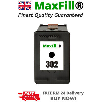MaxFill® HP 302 Black Ink Cartridge For Deskjet 1110 2130 3630 F6U66AE • 12.75£