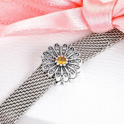 925 Silver Sparkling Daisy Flower Clip Charm Fits Reflexions Bracelets • 11.95£
