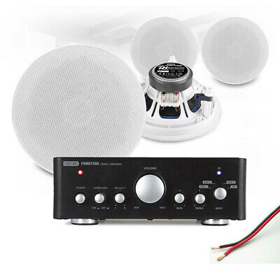4x 5.25  Ceiling Speaker System With Bluetooth Amplifier Home Audio Hi-Fi Music • 198.55£