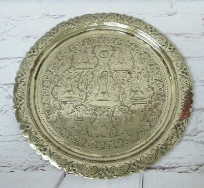 Vintage Engraved Chased Brass Charger Tray Plate Indian Gods Deities Shiva • 24.99£