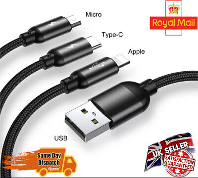 £1.49 • Buy 3 In 1 Fast Multi USB Phone Charger Charging Cable Sync Braided IPhone Android
