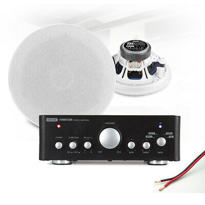 6  Ceiling Speaker System With Bluetooth FM Amplifier Home Stereo HiFi Music • 142.50£