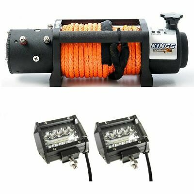 AU458.95 • Buy Domin8rx 12,000lb Winch With Rope + Kings 4  LED Light Bar Pair Insanely Bright