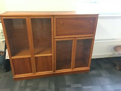 Book Case With Glass Doors In Yew Wood. 2 Available. Photo Shows The 2 • 80£