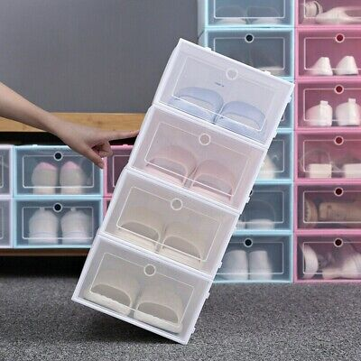 $39.98 • Buy 6/12 Pack Stackable Shoe Box Storage Clear Plastic Foldable Shoes Organizer Case