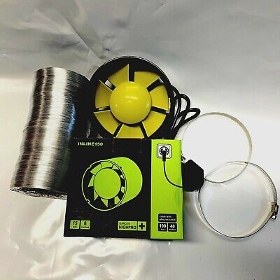 NEW 6  Inch 150mm Inline Extract Intake Grow Room Fan Kit 2.5M Ducting & 2 Clips • 38.45£