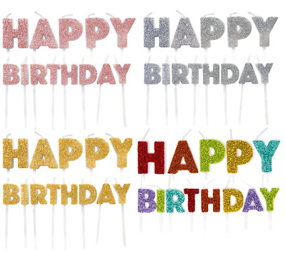 Happy Birthday Cake Candles Glitter Word Letters Cake Topper Decoration • 3.45£